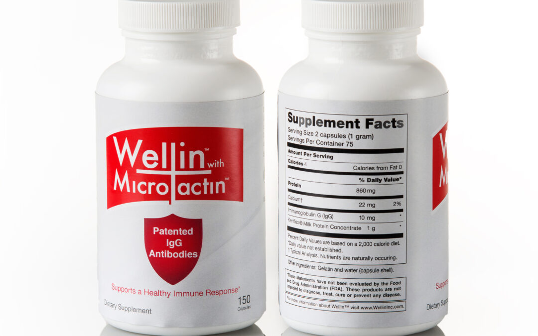 front and back of wellin supplement product
